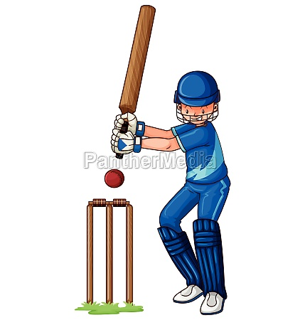 male athlete playing cricket
