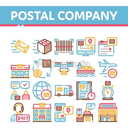postal transportation company icons set vector