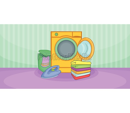 cleaning horizontal banner wash cartoon style