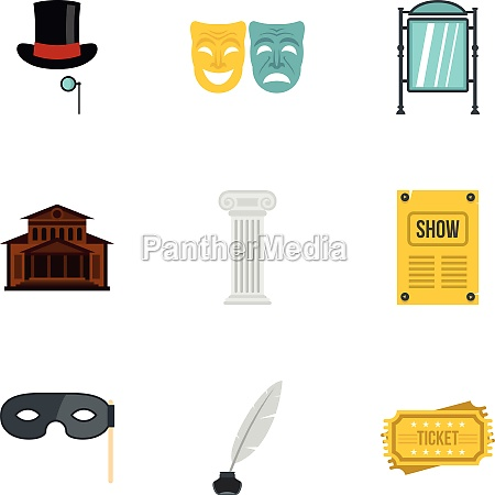 theatre icons set flat style