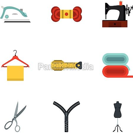 sewing icons set flat style