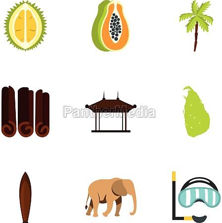 sri lanka attractions icons set flat