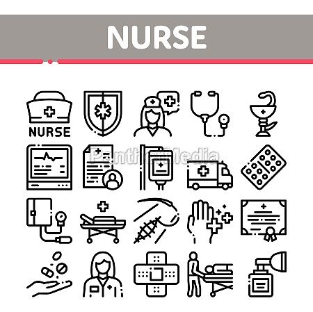 nurse medical aid collection icons set