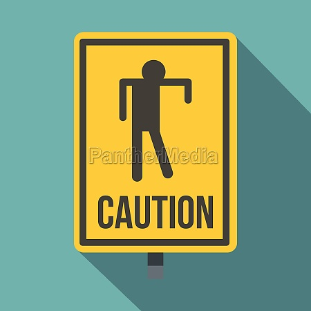 yellow caution zombie sign icon flat