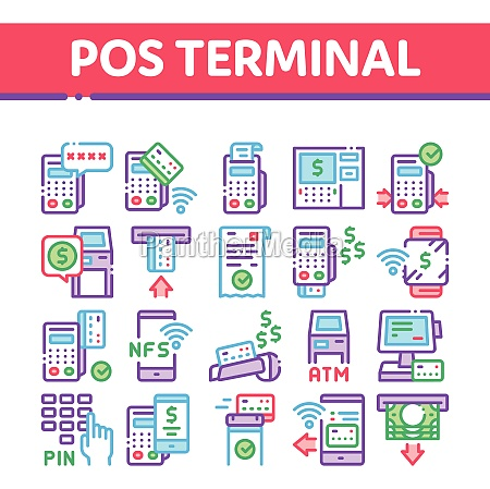 pos terminal device collection icons set