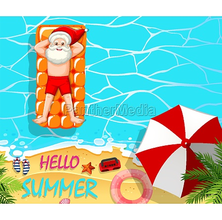 santa claus relax in the pool