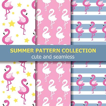 joyfull summer pattern collection flamingo theme