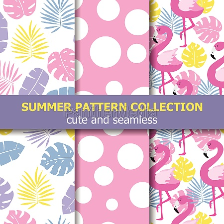 summer pattern collection flamingo theme summer