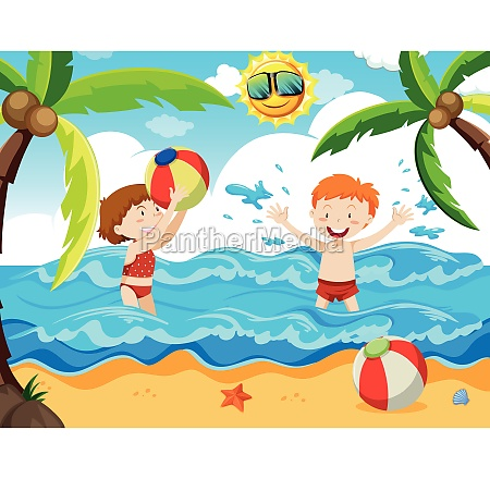 boy and girl at the beach