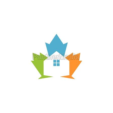 maple leave house concept vector illustration