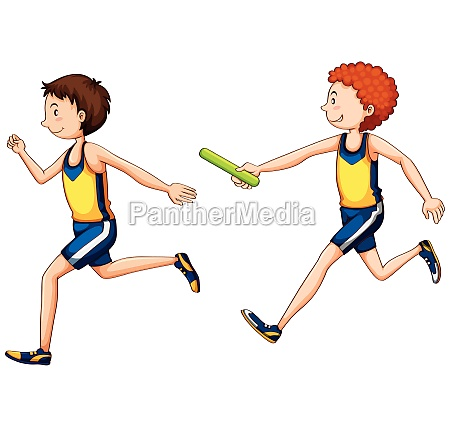 two running doing relay race
