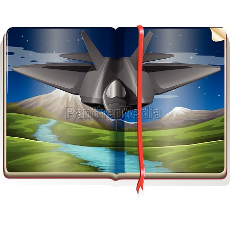 book with jet flying over the