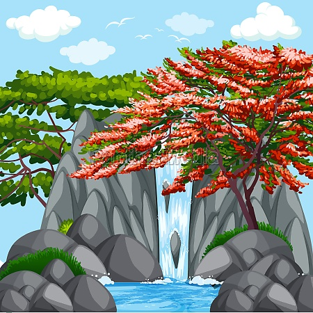 background scene with trees at waterfall