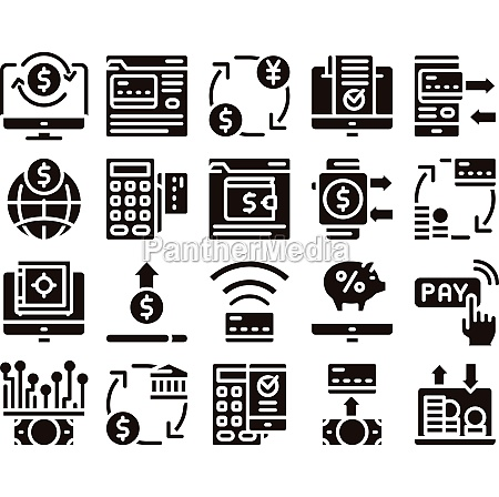 online transactions glyph icons set vector
