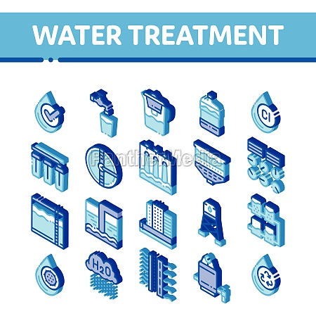 water treatment items vector isometric icons