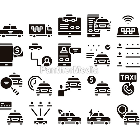 online taxi collection elements icons set