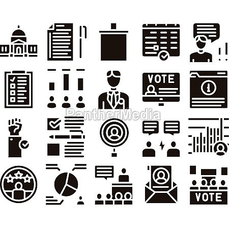 voting and election glyph set vector