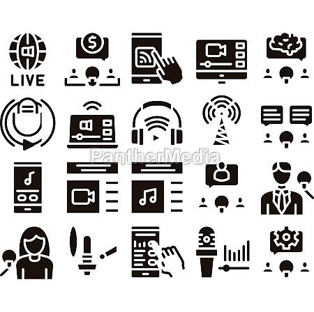 podcast and radio glyph set vector