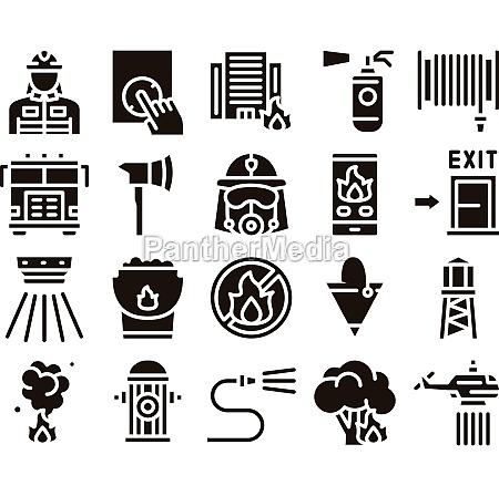 firefighter equipment glyph set vector