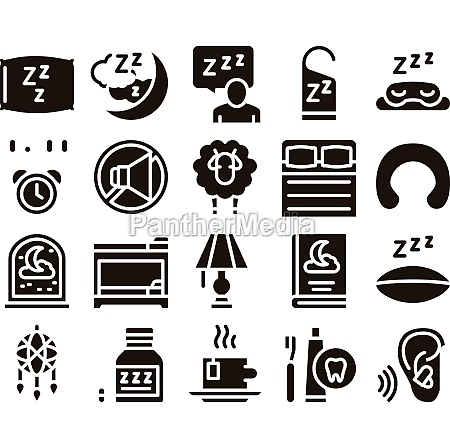 sleeping time devices glyph set vector
