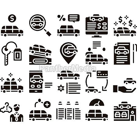 car dealership shop glyph set vector