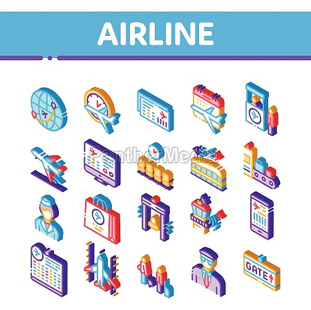 airand airport isometric icons set vector