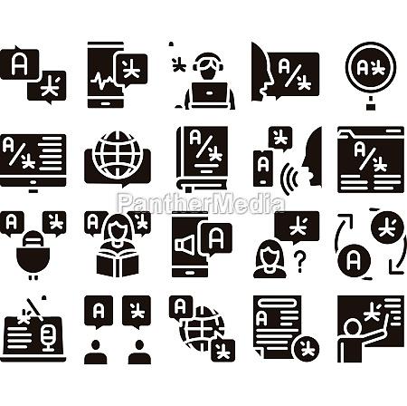 interpreter translator glyph set vector