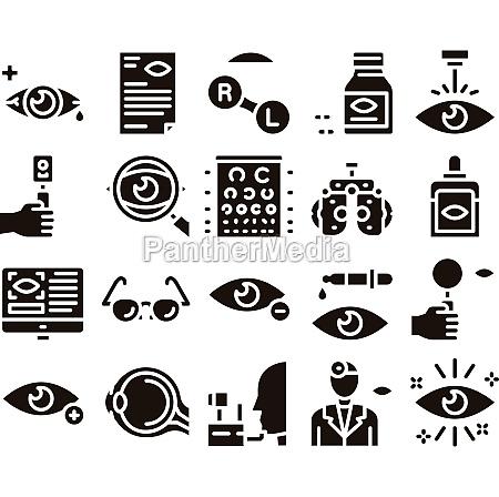 optometry medical aid glyph set vector