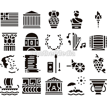 greece country history glyph set vector