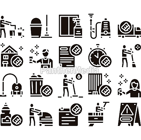 cleaning service tool glyph set vector