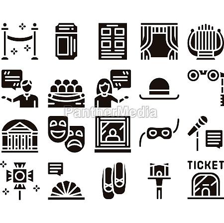 theatre equipment glyph set vector