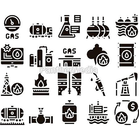 gas fuel industry glyph set vector