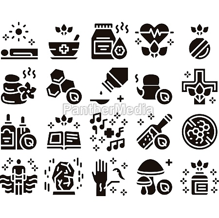 traditional naturopathy medicine icons set vector