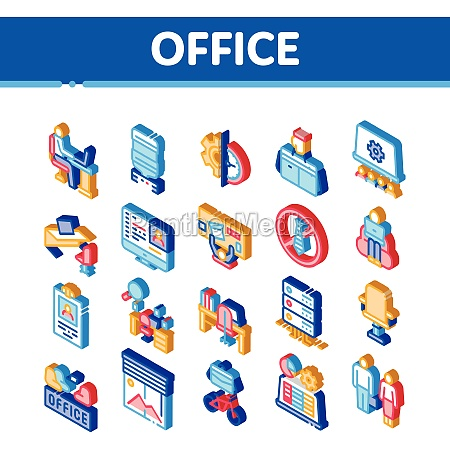 office and workplace isometric icons set