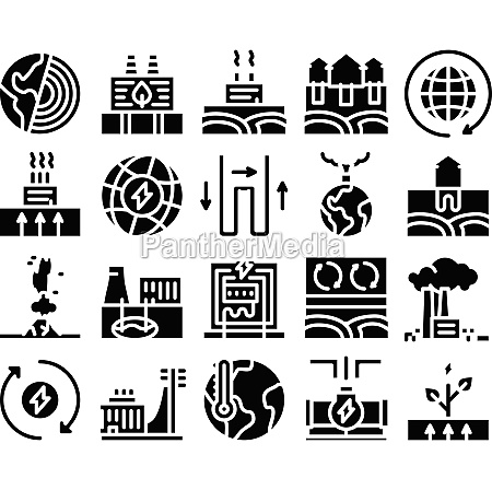 geothermal energy glyph set vector illustrations