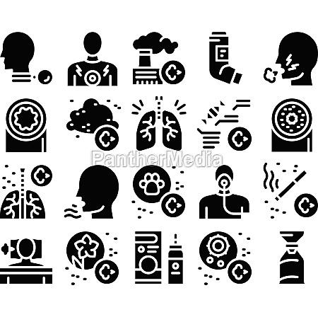 asthma sick allergen glyph set vector
