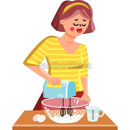 hand mixer kitchen equipment using girl