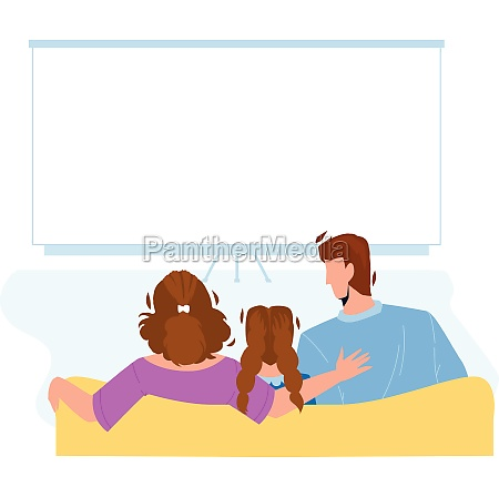 home theatre watching family togetherness vector
