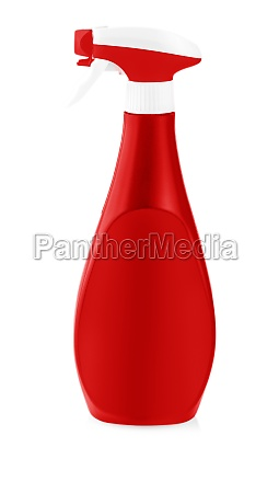 red plastic bottles of cleaning products