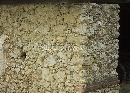 renovation of an stone wall of