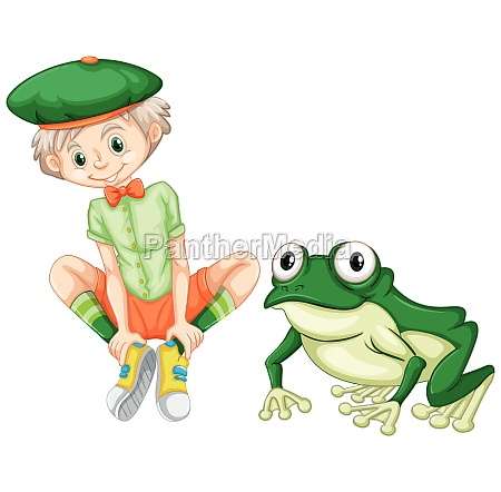 cute boy and green frog