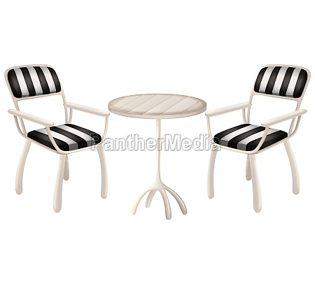 a table and two chairs
