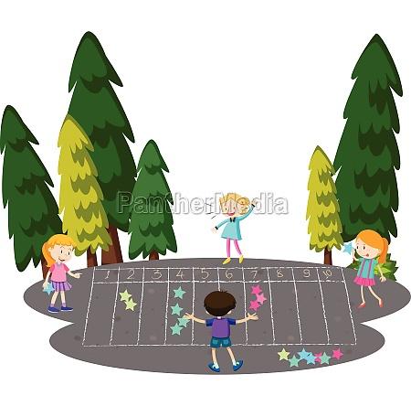children play math game at park