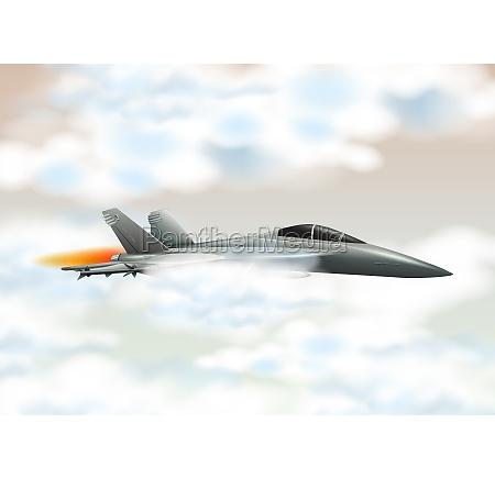 fighting jet flying in the sky