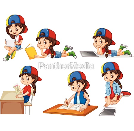 a set of girl and activity