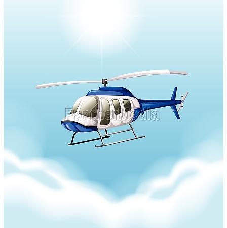 a chopper flying