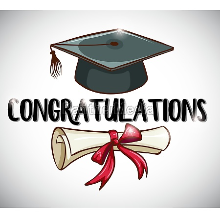 congratulations card template with cap and