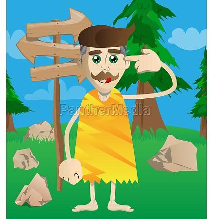 prehistoric man putting an imaginary gun