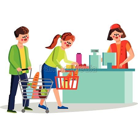 supermarket clients people near cash desk
