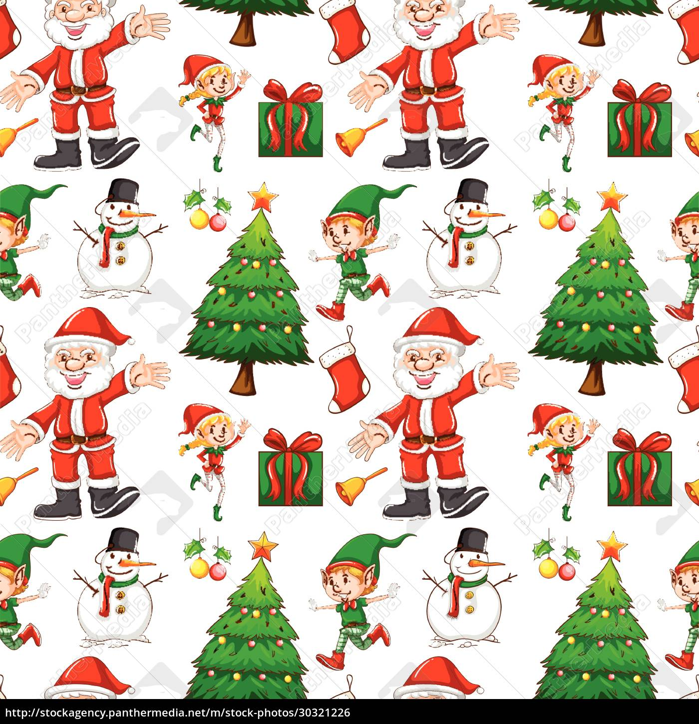 seamless, background, with, elf, and, santa - 30321226